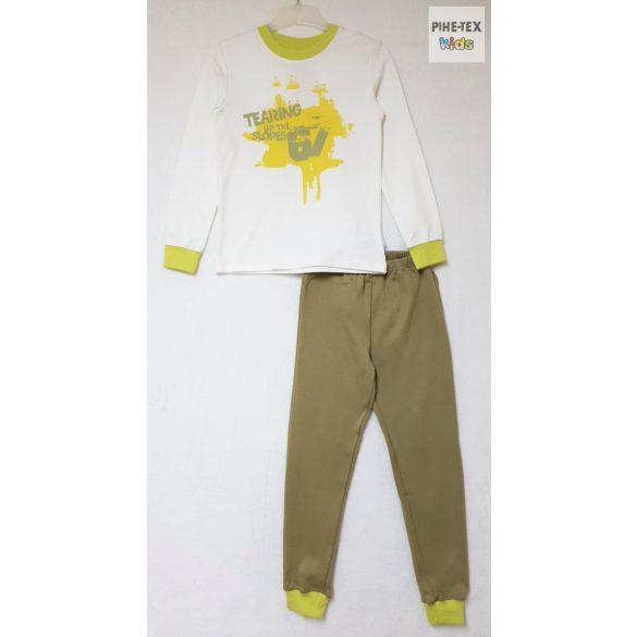 Bembi 2 részes fiú pizsama szett, fehér-zöld, nyomott mintával (PG39)