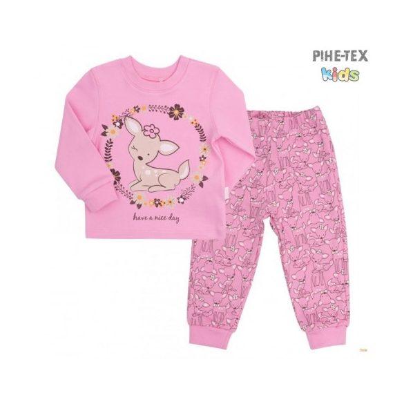 Bembi 2 részes lány pizsama szett, sötétrózsaszín, őzike mintával (PG39)