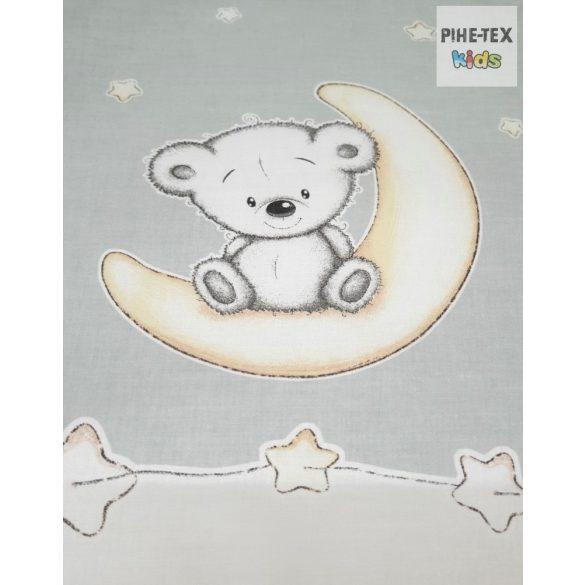 Holdon ülő, macik,Szürke-2 részes babaágynemű szett  (562/Sz)