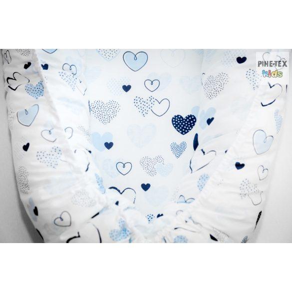 Kék pöttyös szívecskék, babafészek (518/K)