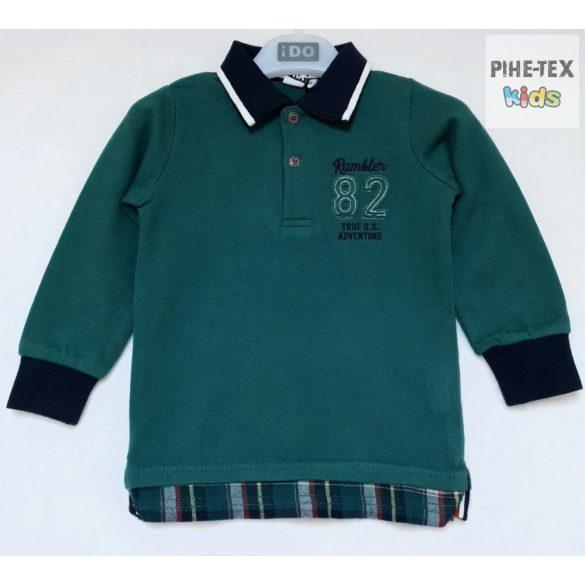 iDO fiú, zöld, hosszú ujjú felső, hímzett mintával (K542/00-4726)
